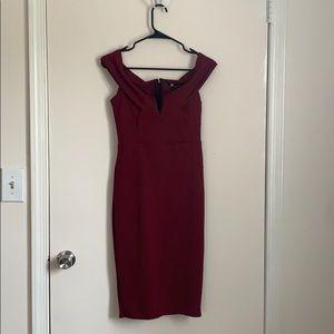 Burgundy Bardot midi length dress